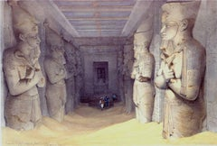 Interior of the Great Temple of Aboo Simbel - 19th Century Lithograph - Roberts