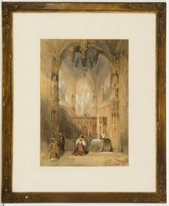 Manner of David Roberts - 19th Century English Watercolour, Church Interior