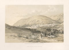 Nablous, The Ancient Shechem. tinted lithograph after David Roberts, 1855.