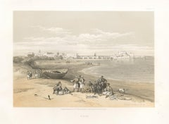 Sidon, Lebanon. tinted lithograph after David Roberts, 1855.