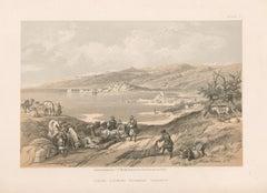 Sidon, looking towards Lebanon. tinted lithograph after David Roberts, 1855.