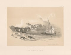 The Citadel of Sidon. Lebanon. Tinted lithograph after David Roberts, 1855.