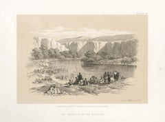 The Immersion of the Pilgrims. Tinted lithograph after David Roberts, 1855.