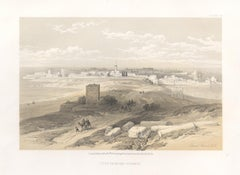 Tyre from the Isthmus. Lebanon. Tinted lithograph after David Roberts, 1855.
