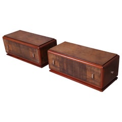 David Robertson Smith for Johnson Dynamique Art Deco Low Nightstands, Pair