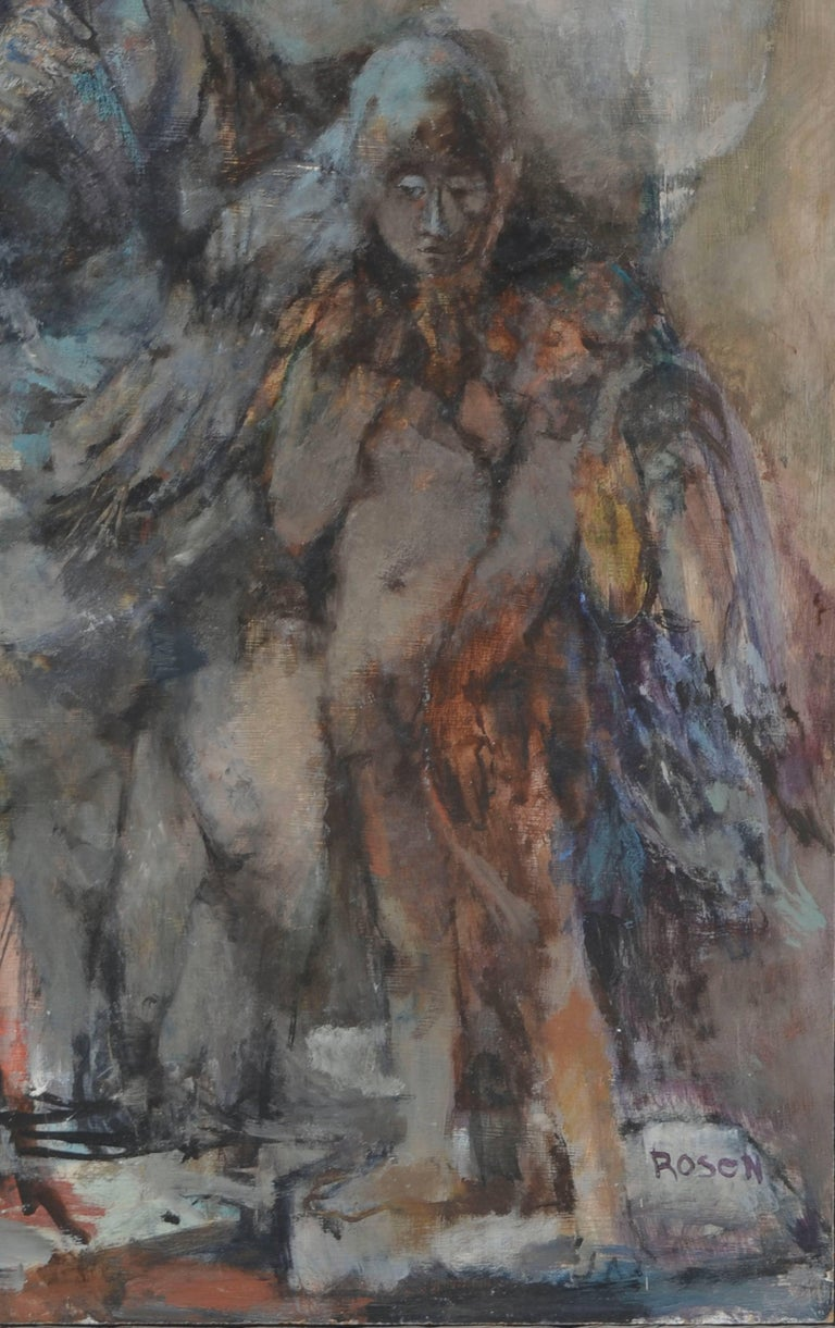 Victorian Couple with Angel - Figurative Abstract  - Painting by David Rosen (b.1912)