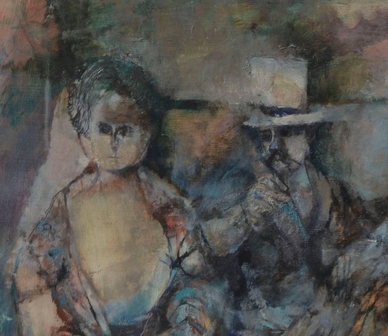 Victorian Couple with Angel - Figurative Abstract  - Brown Figurative Painting by David Rosen (b.1912)