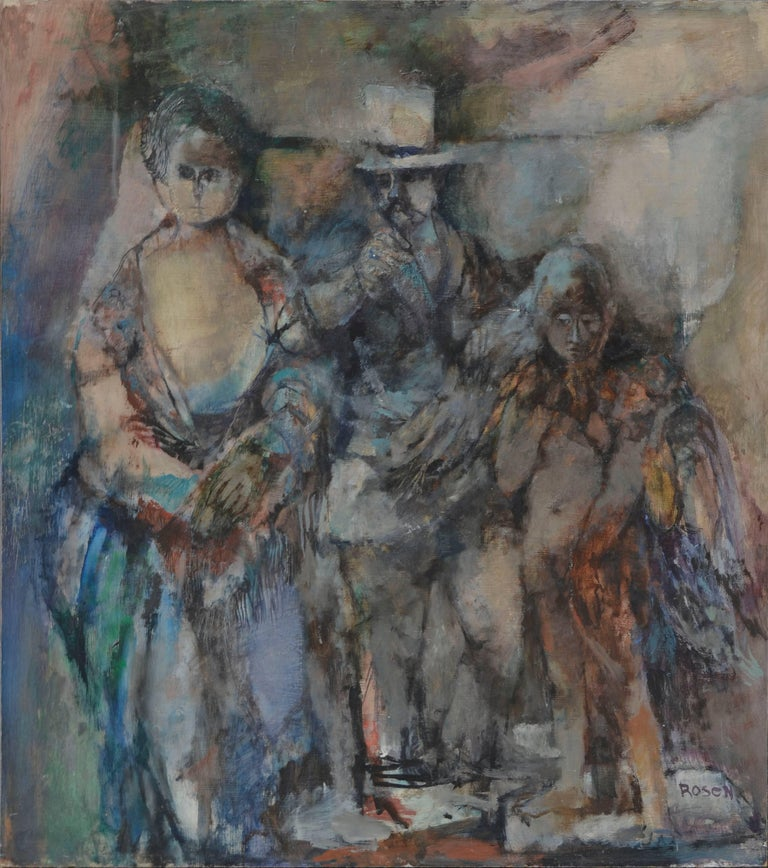 David Rosen (b.1912) Figurative Painting - Victorian Couple with Angel - Figurative Abstract