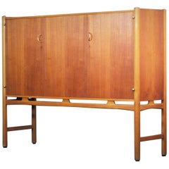 David Rosén Highboard Cabinet Beech Mahogany Brass Nordiska, Sweden