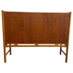 David Rosen Teak Wood Hand Etched Sideboard