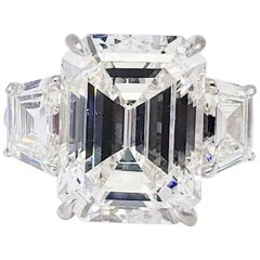 David Rosenberg 10.02 Carat Emerald Cut F VVS2 GIA Diamond Engagement Ring