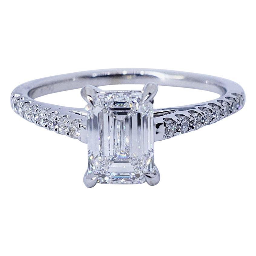David Rosenberg 1.01 Carat Emerald Cut E VS2 GIA Diamond Engagement Ring