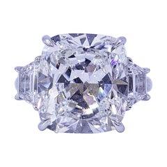 David Rosenberg 10.12 Carat Cushion Cut GIA Three Stone Diamond Engagement Ring