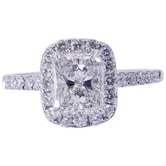 David Rosenberg 1.01 Carat Radiant H/SI1 / GIA Halo Diamond Engagement Ring