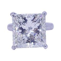 David Rosenberg 10.89 Carat Princess Shape GIA Diamond Engagement Wedding Ring