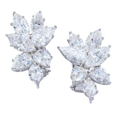 David Rosenberg 11.60Marquise Pear Shape 18k Stud Cluster Diamond Earrings