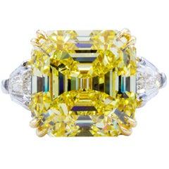 David Rosenberg 11.62 ct  Fancy Intense Yellow Emerald GIA Platinum Diamond Ring