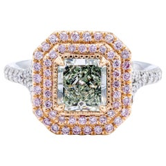 David Rosenberg 1.24 Ct Radiant Fancy Light Green Yellow GIA Halo Diamond Ring
