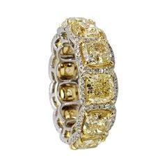 David Rosenberg 12.74 Total Carats Fancy Yellow Diamond Eternity Wedding Band