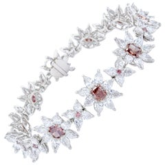David Rosenberg 13 Carat Fancy Deep Pink/Orangy Pink Argyle GIA Diamond Bracelet