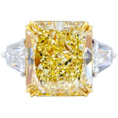 David Rosenberg 13.03 Carat Radiant Fancy Light Yellow GIA Diamond Ring