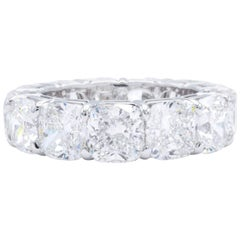 David Rosenberg 13.25 Total Carat GIA Cushion Diamond Eternity Wedding Band