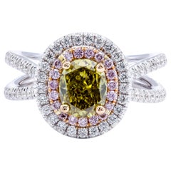 David Rosenberg 1.39ct Oval Fancy Greenish Yellow GIA Split Shank Diamond Ring