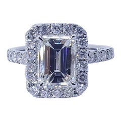 David Rosenberg 1.51 Carat Emerald Cut I/VVS2 GIA Diamond Engagement Halo Ring