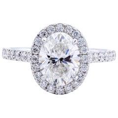 David Rosenberg 1.51 Carat Oval Cut G/VS1 GIA Halo Diamond Engagement Ring