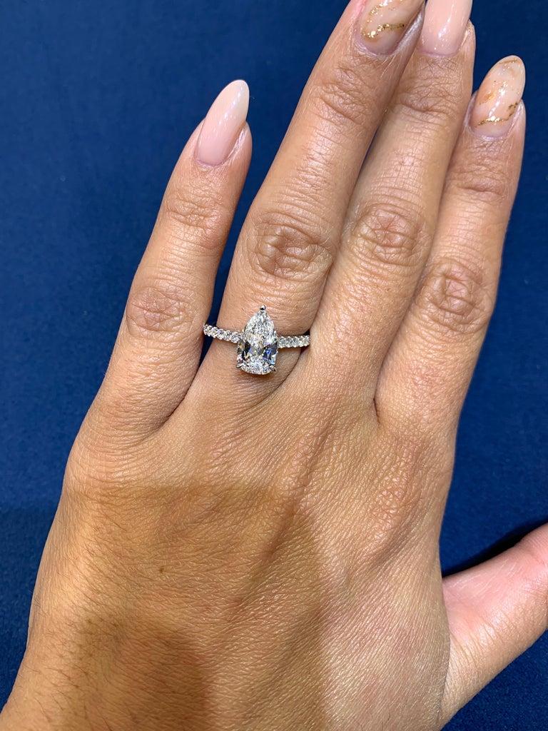 David Rosenberg 1.53 Carat Pear Shape D/VS2 GIA Diamond Engagement Wedding Ring For Sale 4