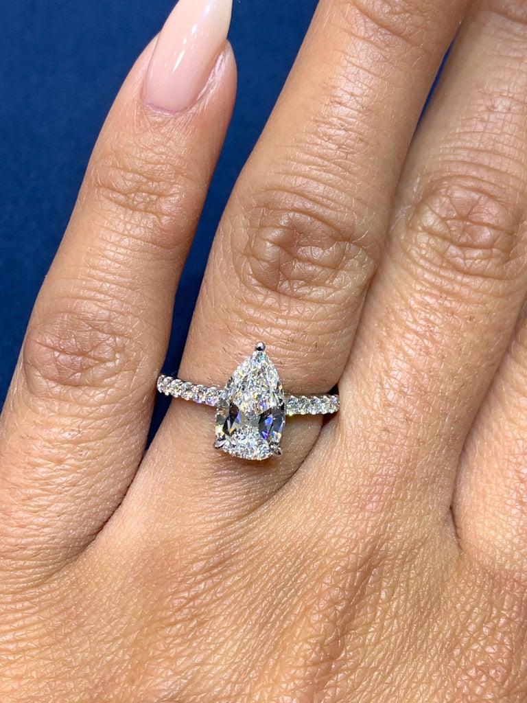 David Rosenberg 1.53 Carat Pear Shape D/VS2 GIA Diamond Engagement Wedding Ring For Sale 5