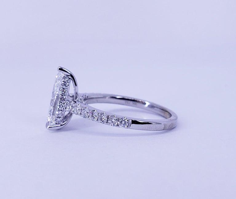 Modern David Rosenberg 1.53 Carat Pear Shape D/VS2 GIA Diamond Engagement Wedding Ring For Sale