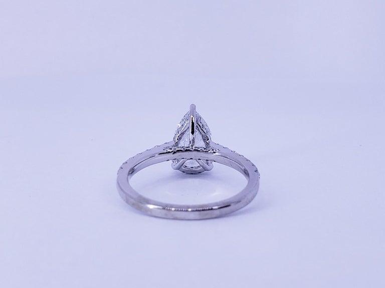 Pear Cut David Rosenberg 1.53 Carat Pear Shape D/VS2 GIA Diamond Engagement Wedding Ring For Sale