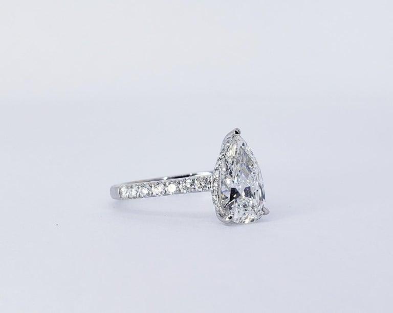 Men's David Rosenberg 1.53 Carat Pear Shape D/VS2 GIA Diamond Engagement Wedding Ring For Sale