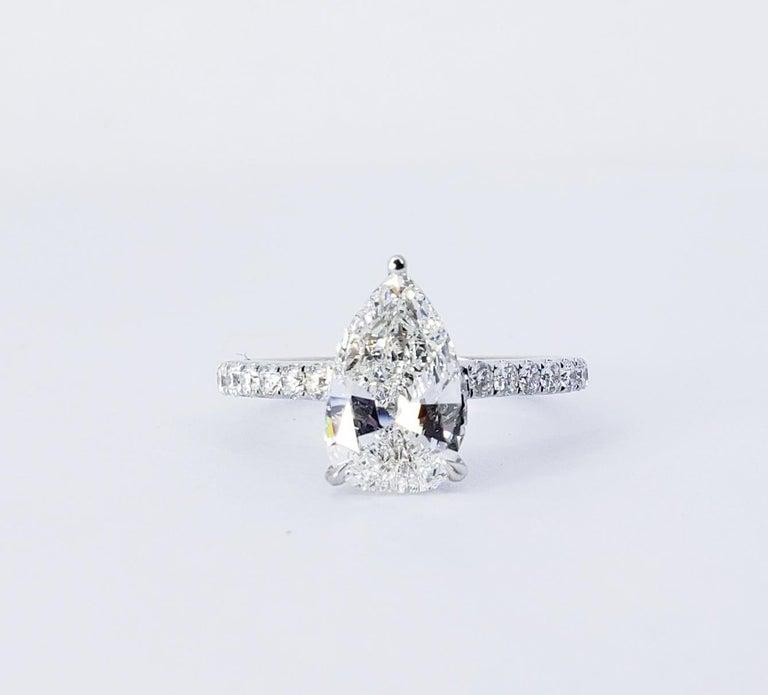David Rosenberg 1.53 Carat Pear Shape D/VS2 GIA Diamond Engagement Wedding Ring For Sale 1