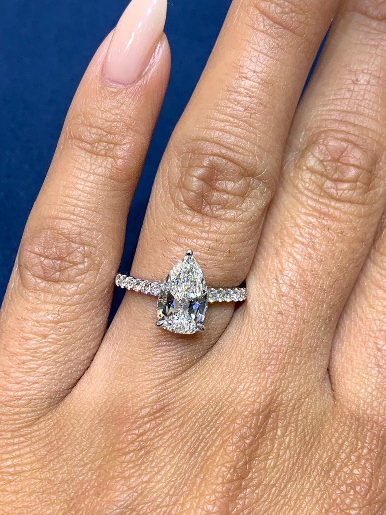 David Rosenberg 1.53 Carat Pear Shape D/VS2 GIA Diamond Engagement Wedding Ring For Sale 2