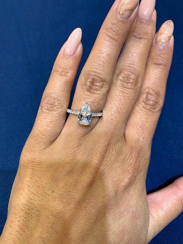 David Rosenberg 1.53 Carat Pear Shape D/VS2 GIA Diamond Engagement Wedding Ring For Sale 3