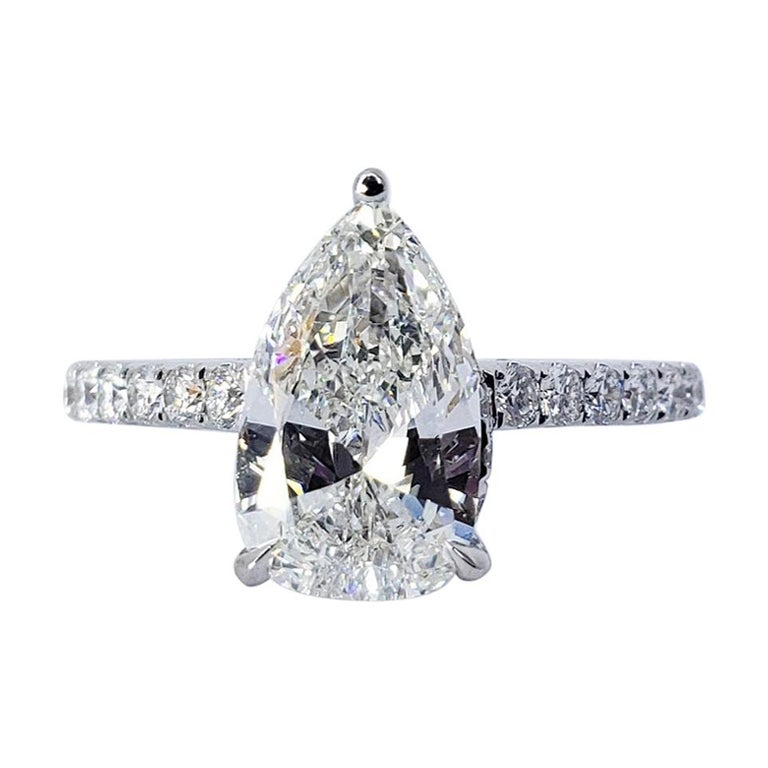 David Rosenberg 1.53 Carat Pear Shape D/VS2 GIA Diamond Engagement Wedding Ring For Sale
