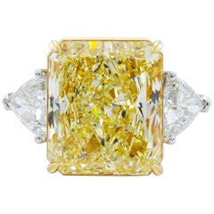 David Rosenberg 15.34 Carat Radiant GIA Fancy Light Yellow Diamond Platinum Ring