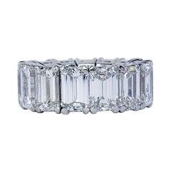 David Rosenberg 15.34 Total Carats Emerald Cut GIA Diamond Eternity Wedding Band