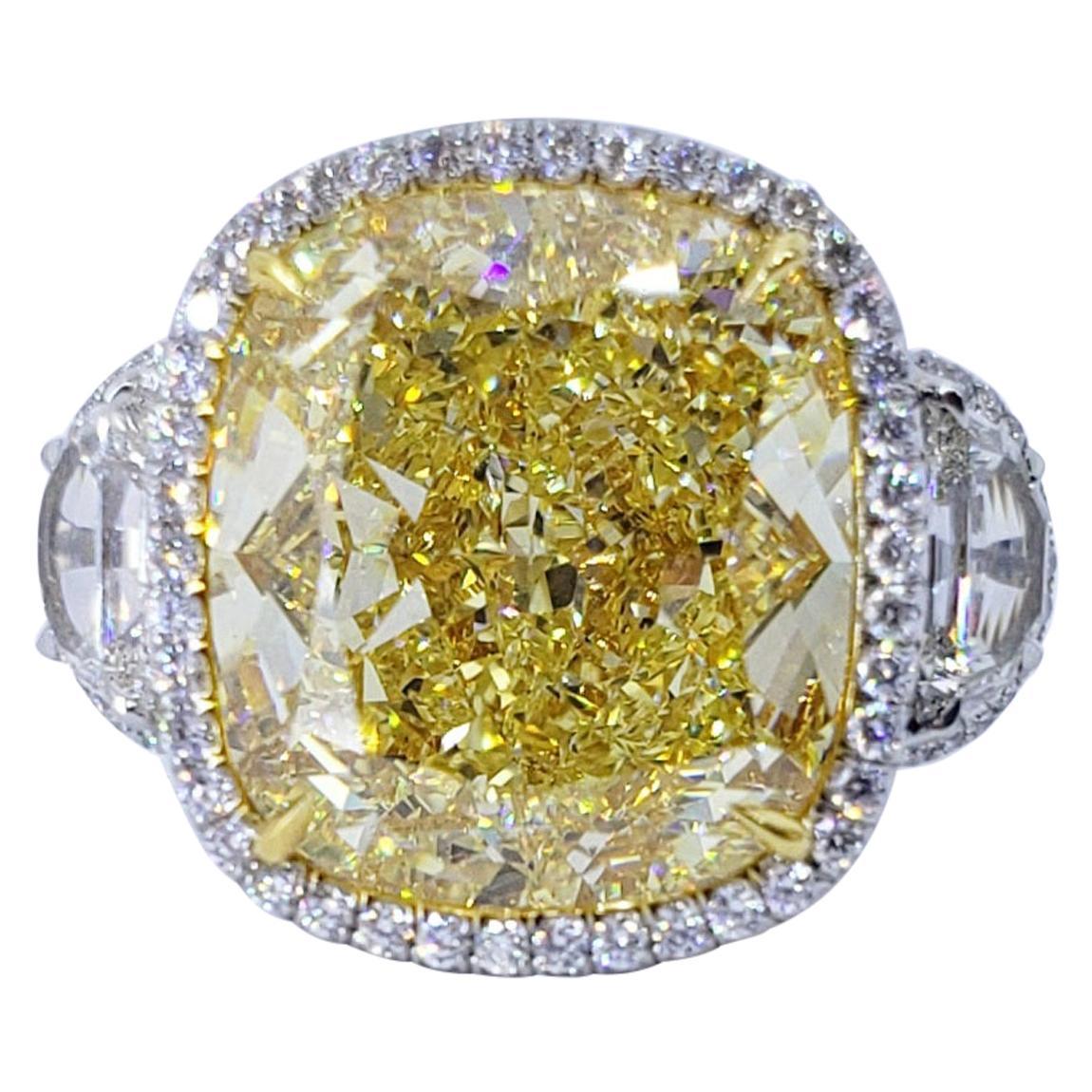 David Rosenberg 16.06 Carat Cushion Cut Fancy Yellow GIA Diamond Engagement Ring