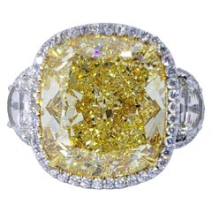 David Rosenberg 16.06 Carat Cushion Cut Fancy Yellow GIA Diamond Engagement Ring
