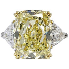 David Rosenberg 16.48 Carat Cushion Fancy Yellow GIA Diamond Engagement Ring