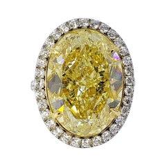 David Rosenberg 17.32 Carat Oval Fancy Yellow GIA Diamond Engagement Ring