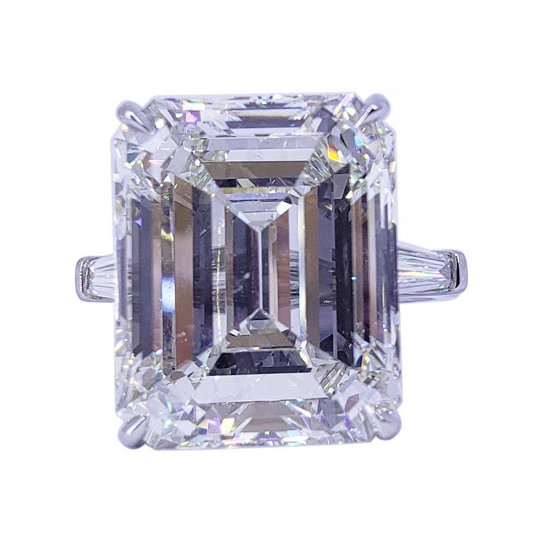 David Rosenberg 19.09 Carat Emerald Cut GIA Three Stone Diamond Engagement Ring
