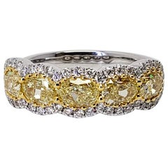David Rosenberg 1.94 Carat Oval Fancy Intense Yellow VS2 Diamond Wedding Band