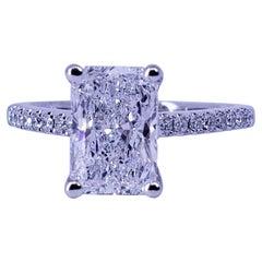 David Rosenberg 2.02 Carat Radiant D/SI2 GIA Diamond Engagement Wedding Ring