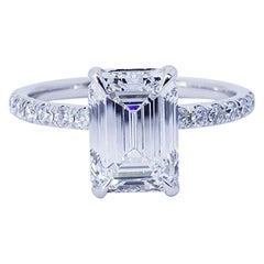 David Rosenberg 2.16 Carat Emerald Cut D/IF GIA Diamond Engagement Ring
