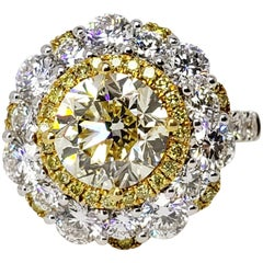David Rosenberg 2.56 Carat Round Fancy Light Yellow VVS1 GIA Diamond Ring