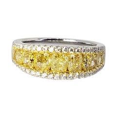 David Rosenberg 2.59 Total Carats Cushion Fancy Yellow Diamond Wedding Band
